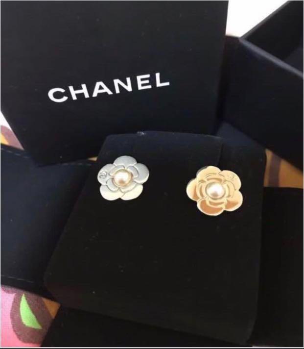 Chanel Gold Camellia Earrings