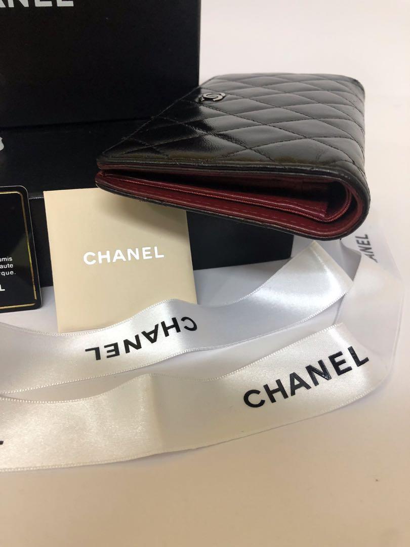 Chanel Lambskin bi-fold quilted Yen wallet 100% authentic