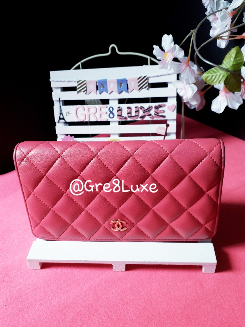 3c3d97d1768998 ♥️Great Condition♥️Chanel Lambskin Yen wallet in beautiful rose colour(GHW),  Luxury, Bags & Wallets, Wallets on Carousell