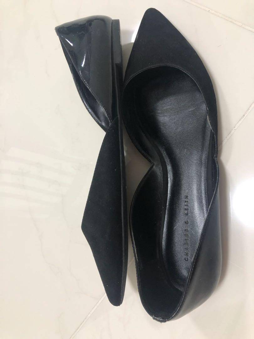 C&K black court shoes