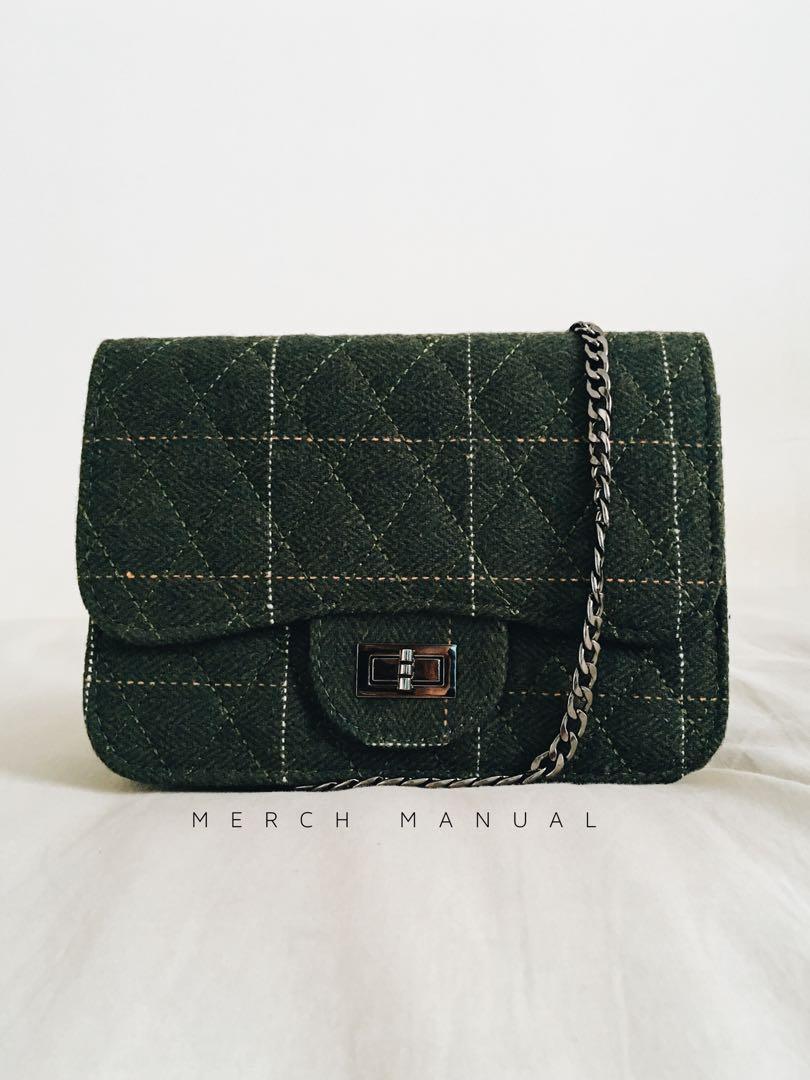 Clutch Wool Fabric - Dark Green // Tas Mini Kain bahan Wol - Hijau Tua #BAPAU