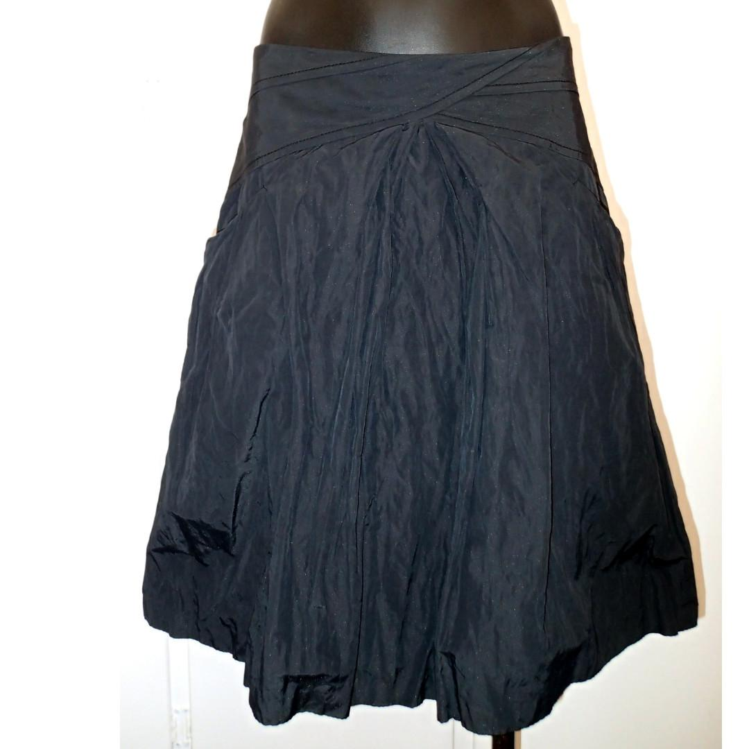 CUE Sparkle Metallic Grey Crinkle Pleated Retro Style Flared Skirt Size 8