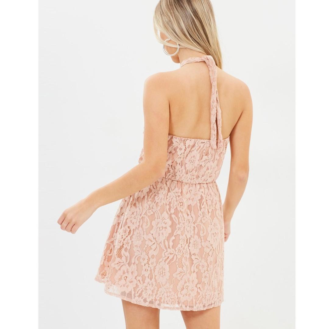Dazie Eva Ruched Hem Dress Lace Skater Skirt Pink Nude Halter Keyhole Mini