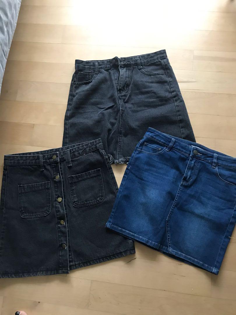 Denim Jeans 3 Skirts black and blue bundle