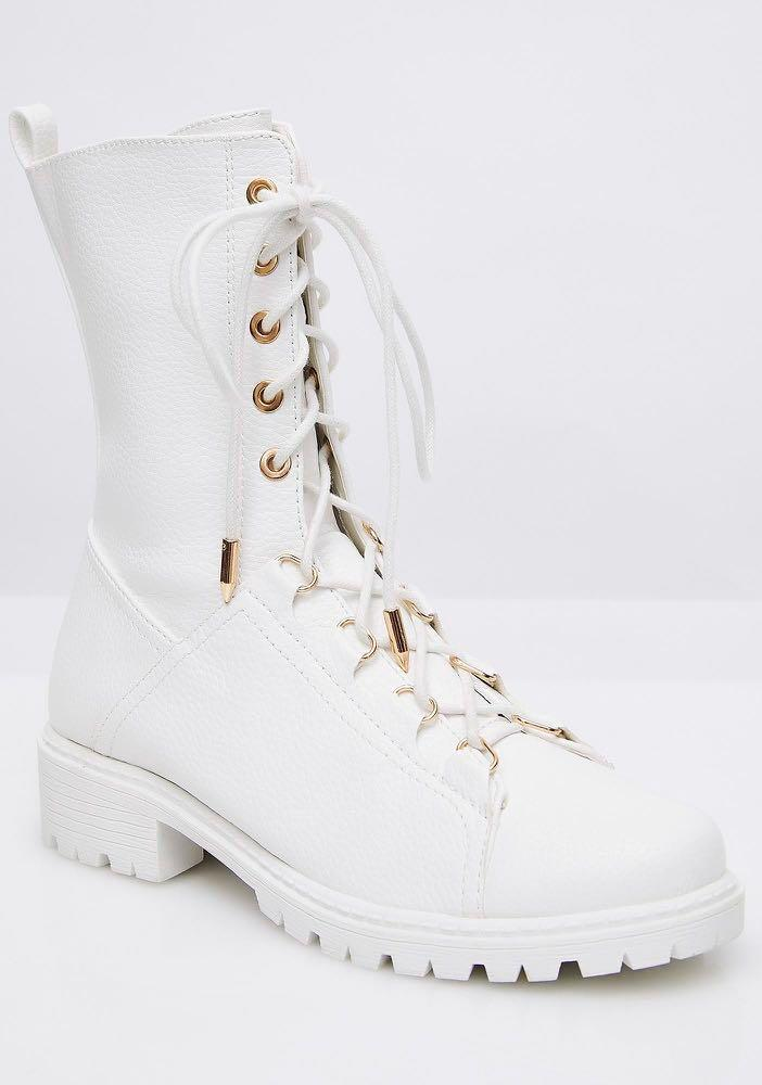 Dolls Kill 'You're In Charge' White Combat Boots Size 5.5AUS