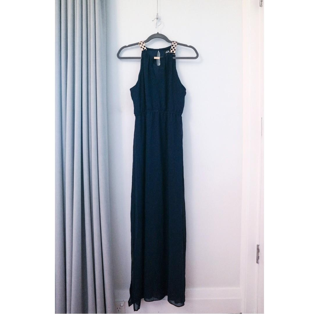 Dotti Blue Maxi Dress Evening Gown Prom Gold Halter Sheer Keyhole Navy Isabella