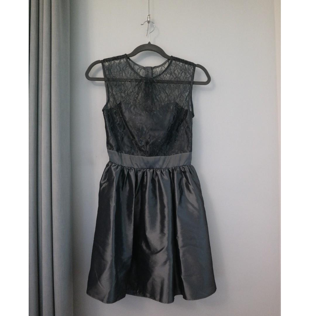 Elise Ryan Lace Taffeta Skater Dress Grey Silver Mini Skirt Prom Heart Backless