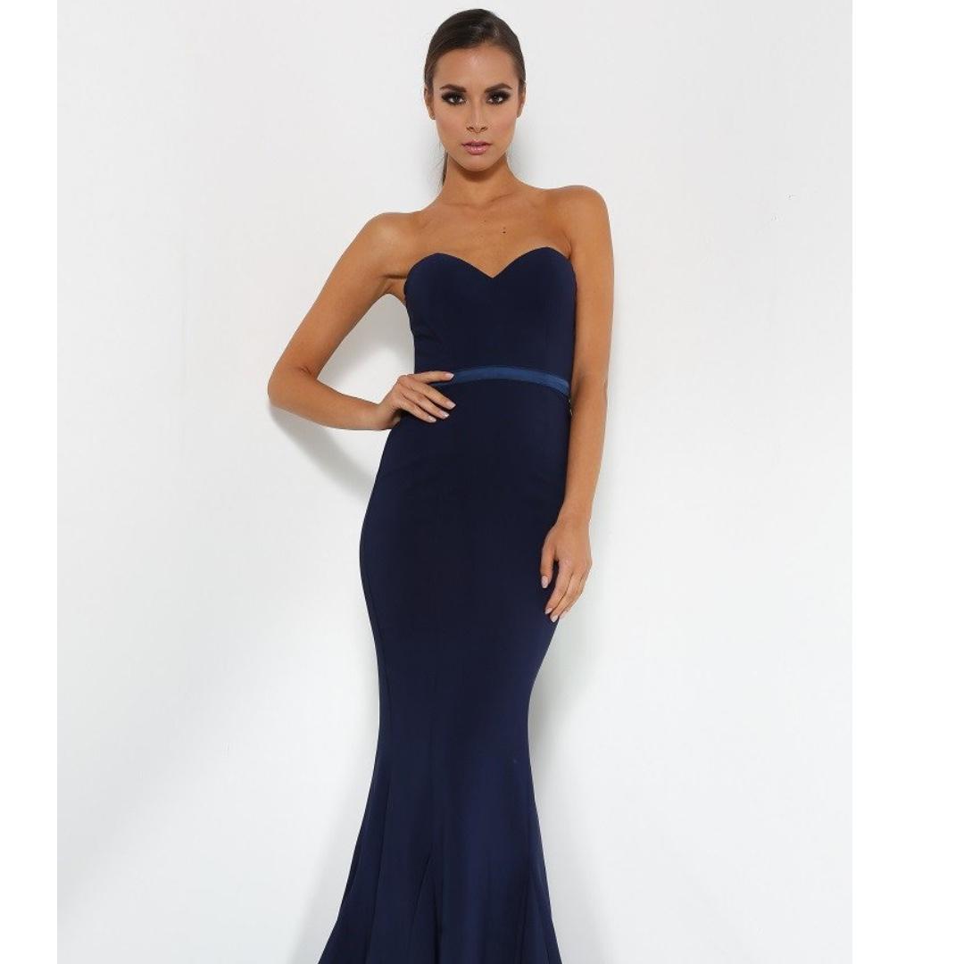 Elle Zeitoune Navy Arianna Ball Gown - Altered for Petite Sizes