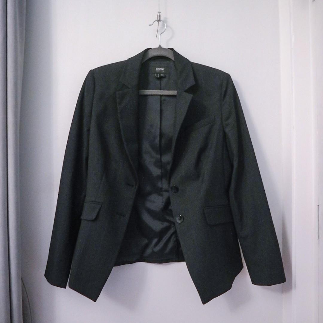Esprit Blue Black Grey Plaid Blazer Work Formal Business Oversized