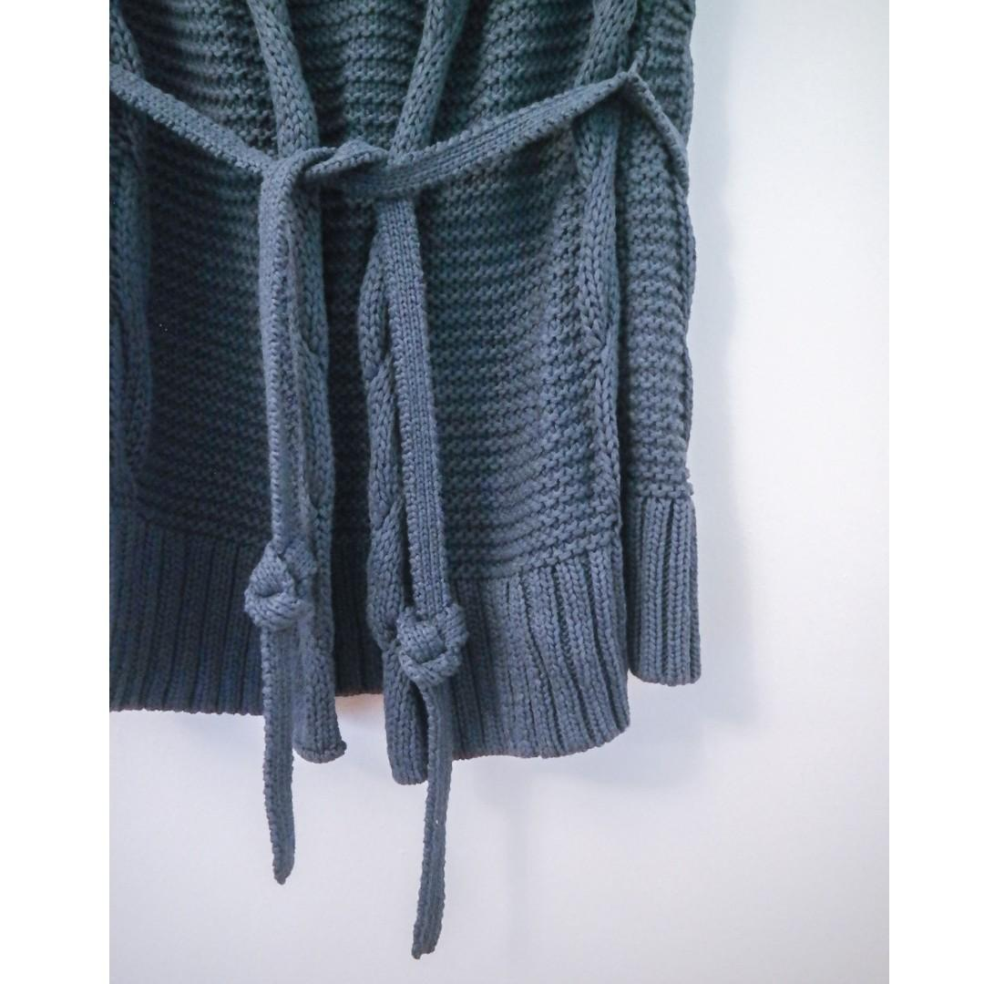 Esprit Navy Blue Knit Jacket Cardigan Knitted Tie Long Grey Gray
