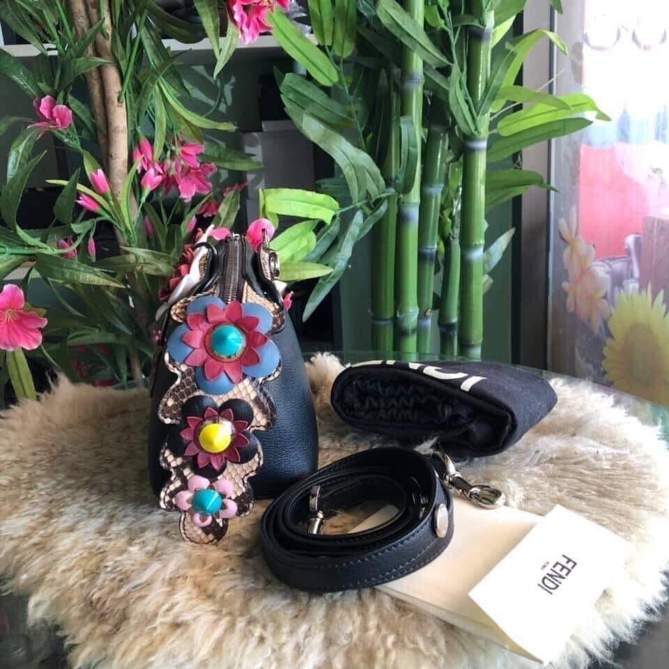 Fendi bytheway mini flowers limited edition black bag