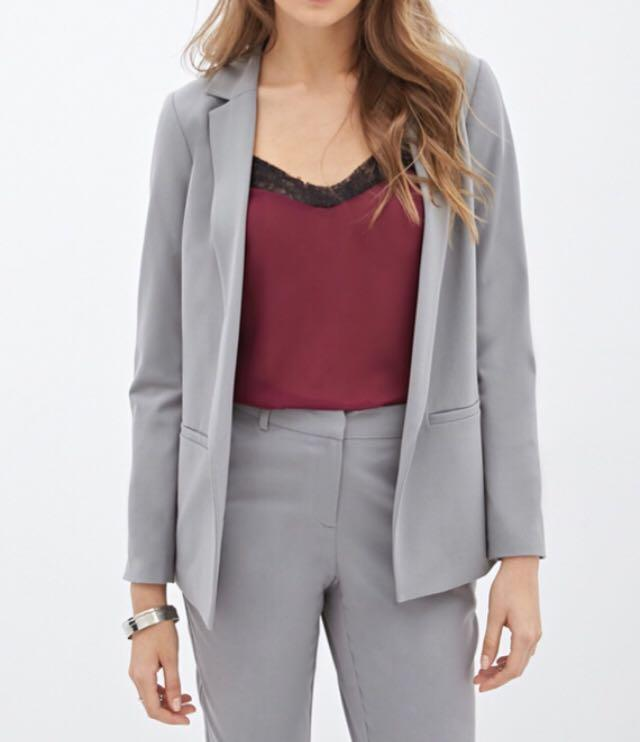 Forever 21 Contemporary light grey loose-fitting boyfriend blazer - REDUCED (moving this September)