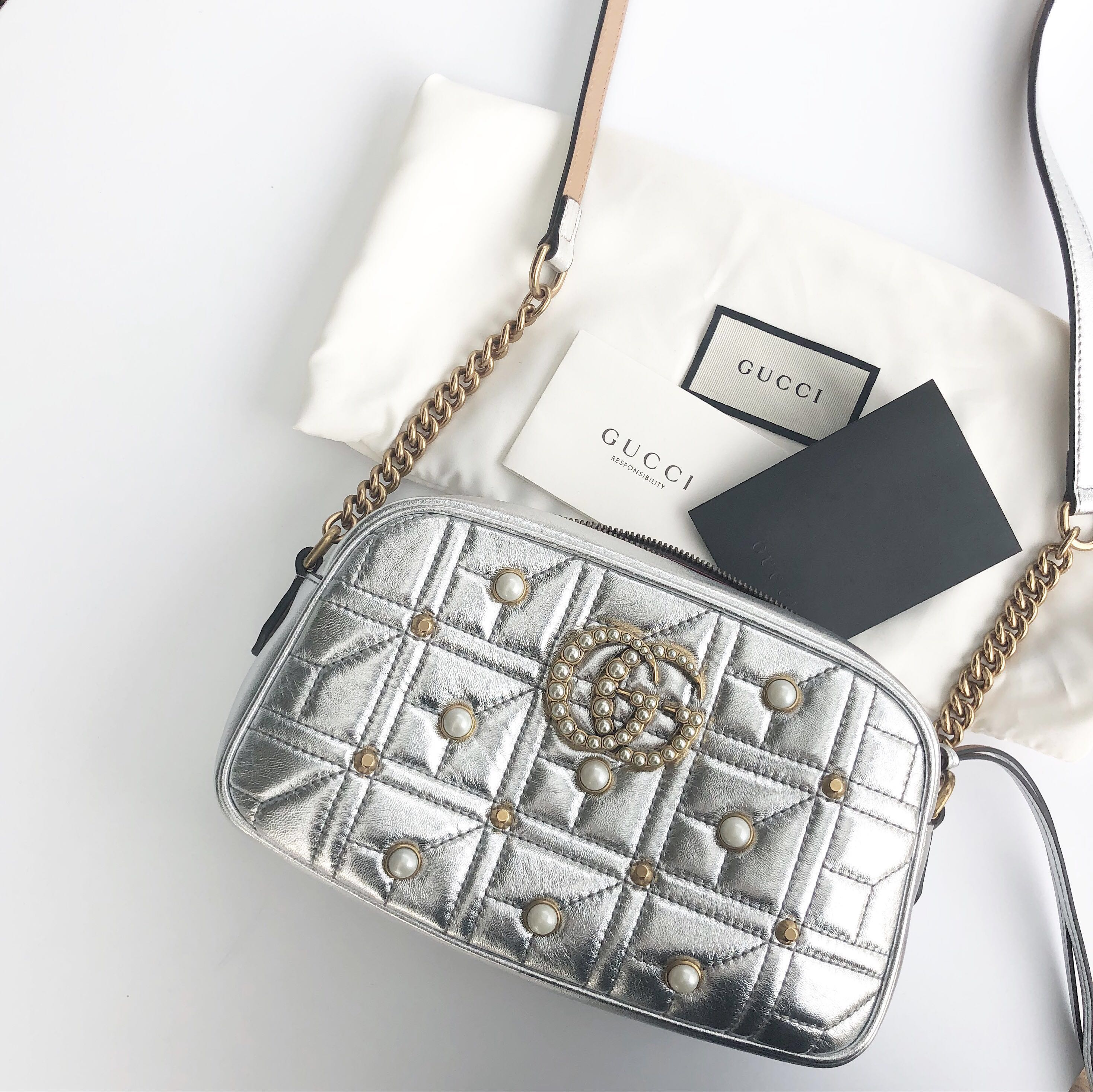 70627c626415 Gucci GG Marmont Pearl Matelasse Shoulder Bag Silver Metallic, Women's  Fashion, Bags & Wallets, Handbags on Carousell