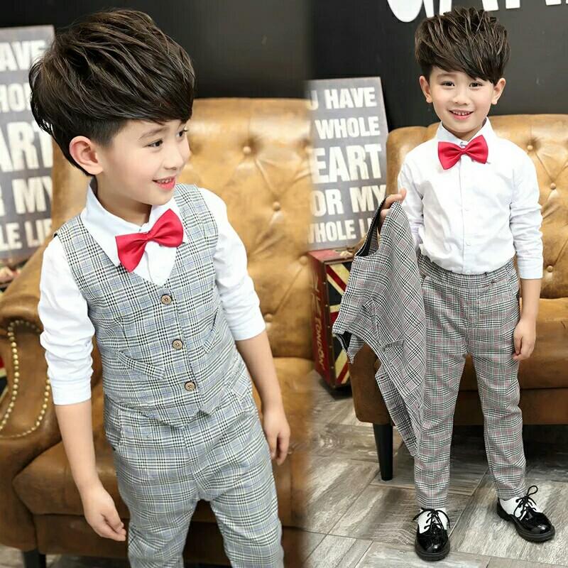 af93fe0c29f6 Handsome Baby Boys Gentleman Suit Children's Formal Clothing Set Kids  Wedding Party Clothes 3-12Y Baby Boy Suit Kids Vest Pants, Babies & Kids,  ...