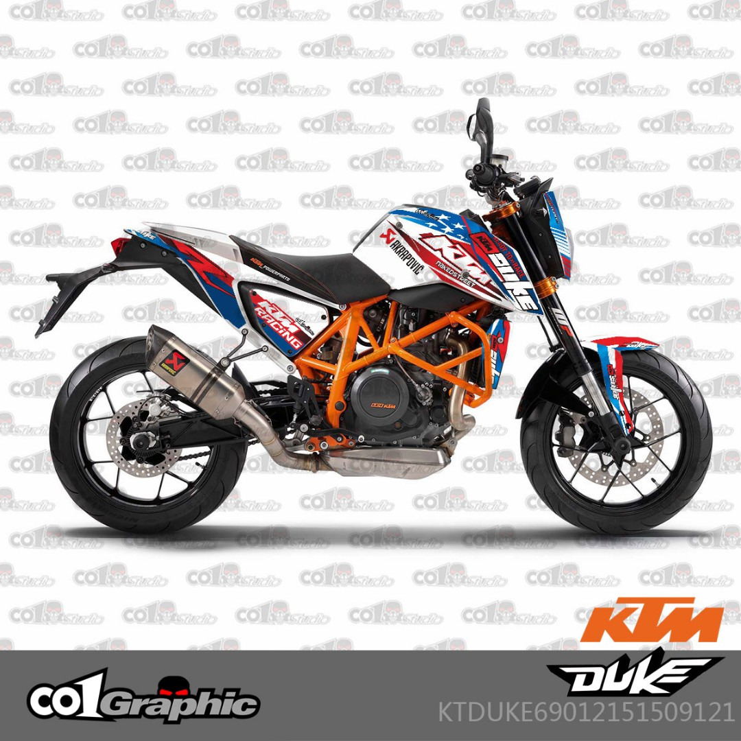 Instock ktm duke 690 decal sticker stickers decals body coverset cover fairings fairing blue white racing motorbikes motorbike accessories on carousell