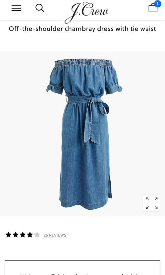 J. Crew Off-the-shoulder chambray dress with tie waist