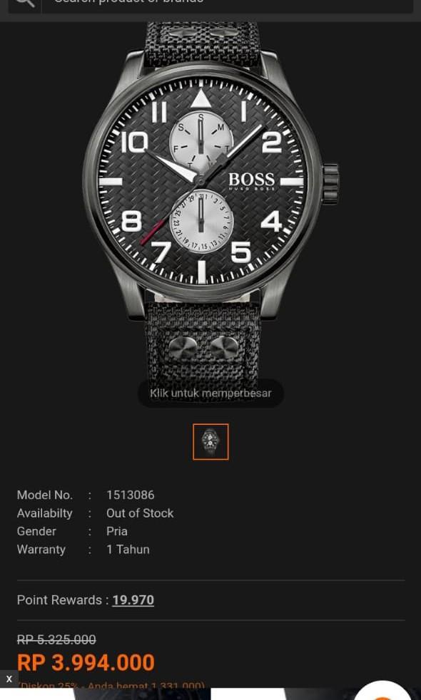 Jual cepat Jam tangan Ori Hugo Boss Aeroliner