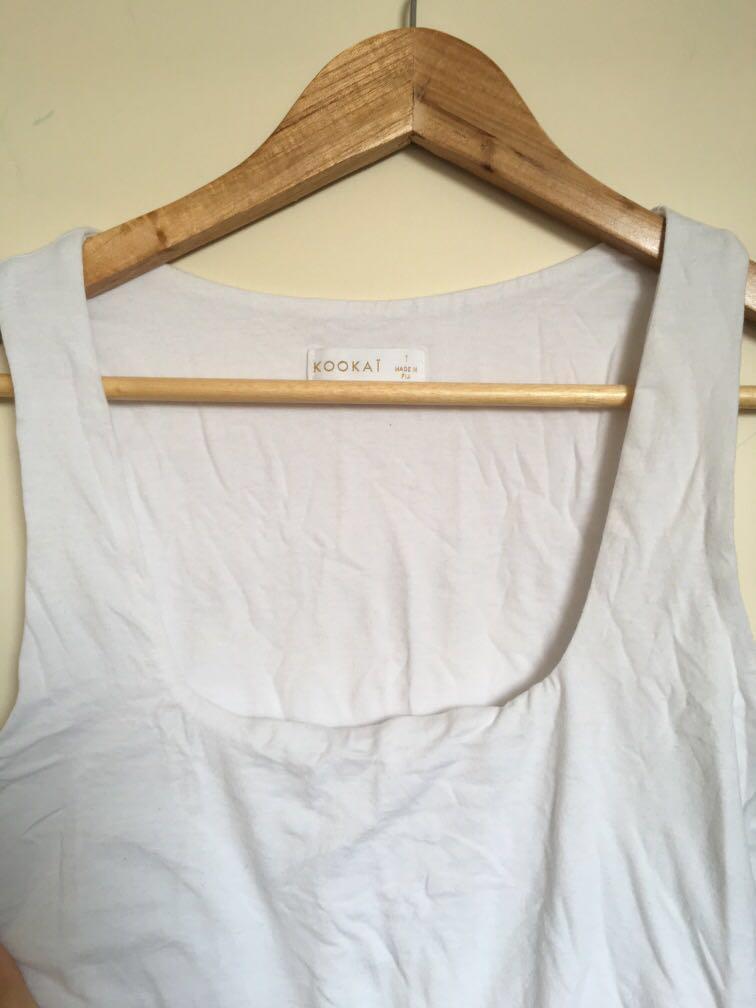 Kookai white square neck sleeveless tank bodysuit size 1