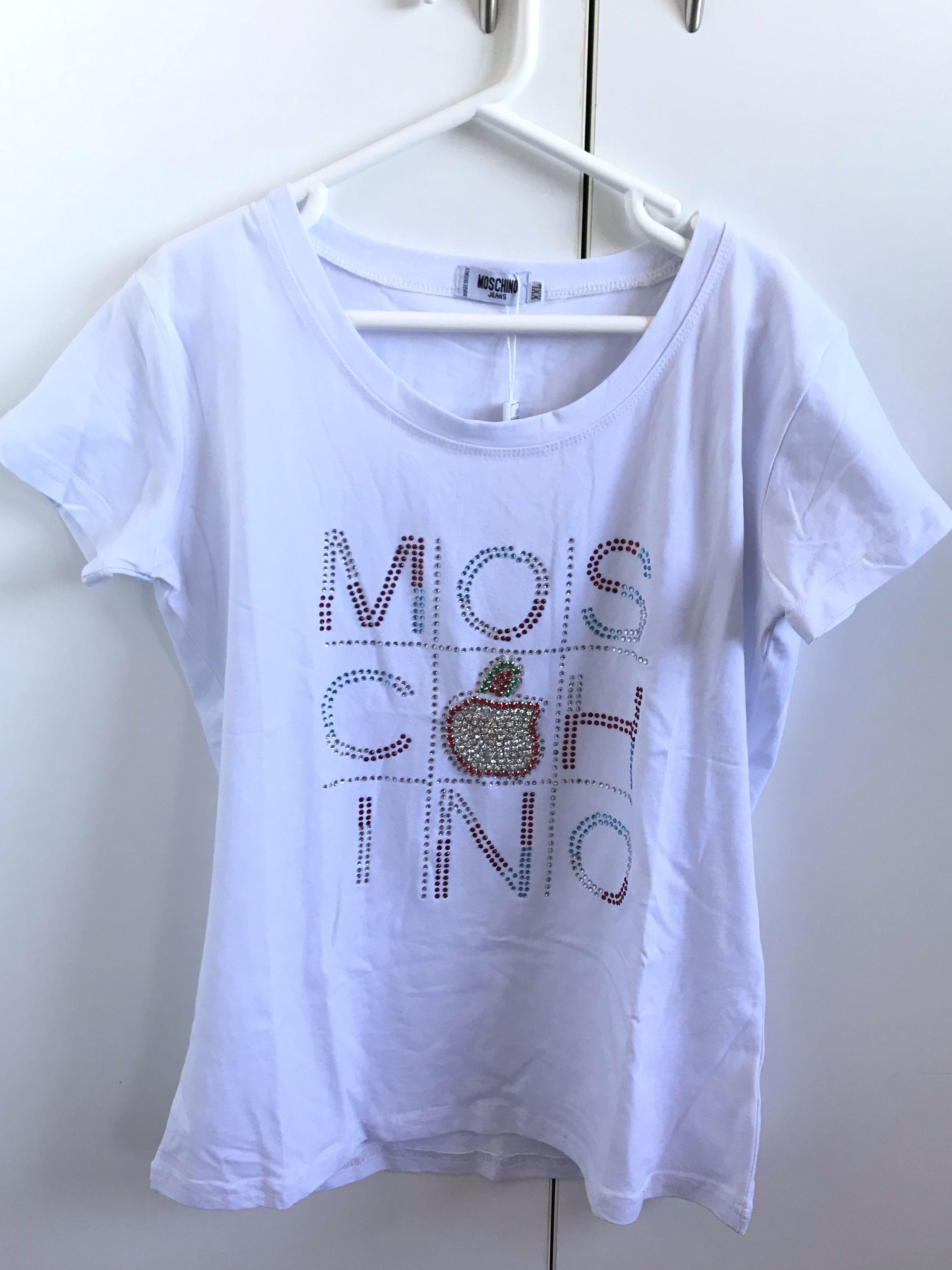 Moschino sparkle gemstone print logo white shirt size small