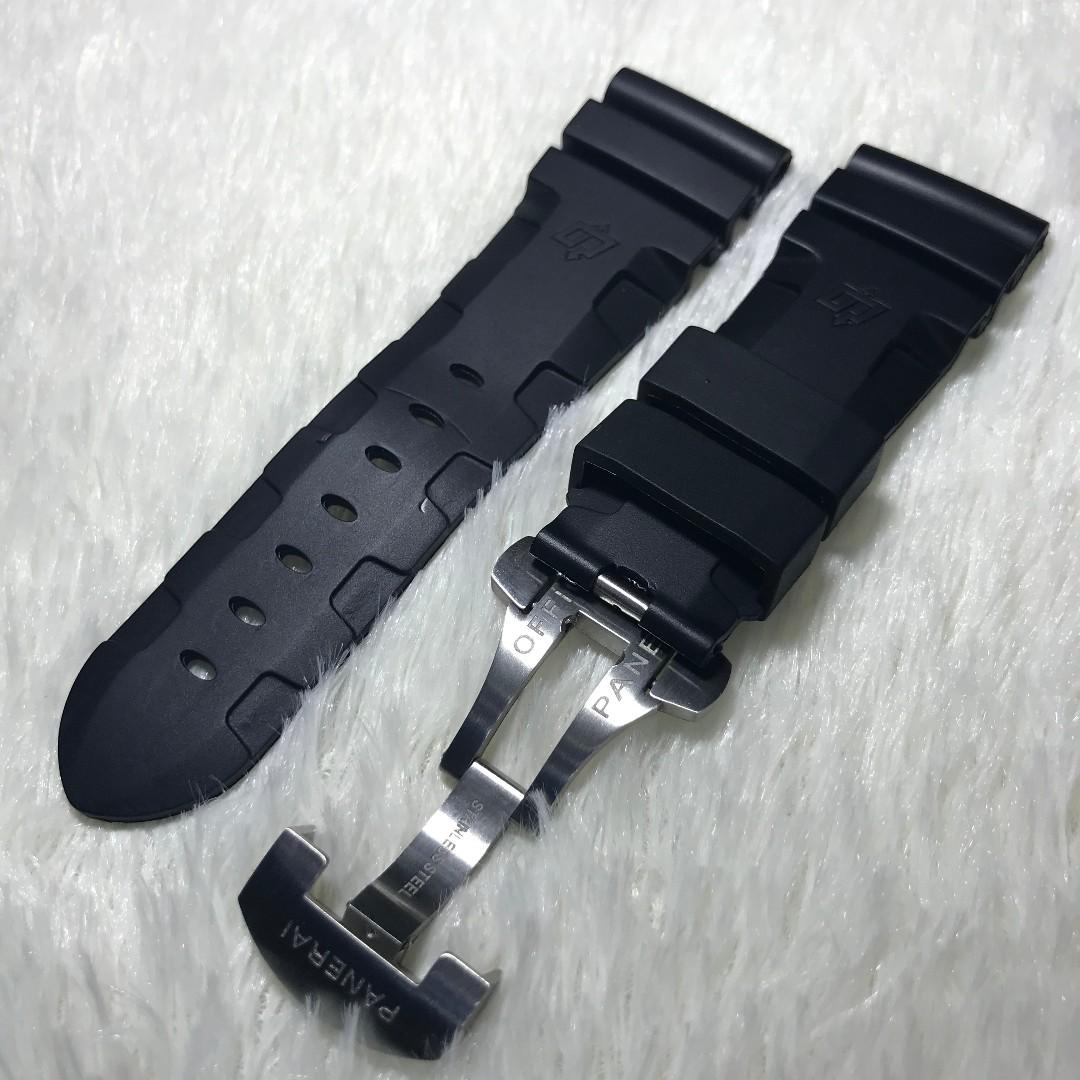 Panerai Aftermarket 26mm Logo Black Rubber Strap with Deployant Clasp