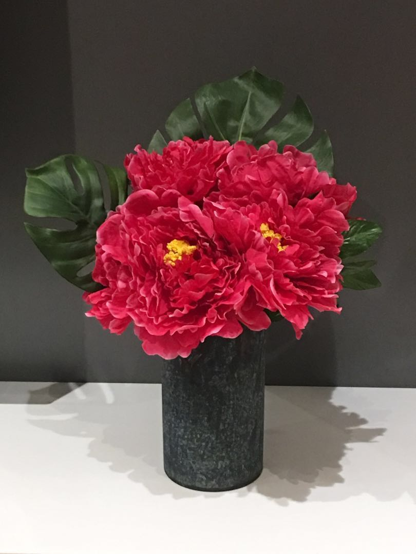 Peonies Flower Arrangement And Vase Homerefresh30 Design Craft Handmade Craft On Carousell