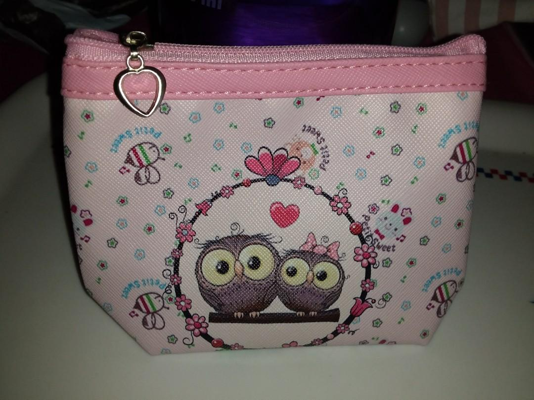 Pink owl coin pouch