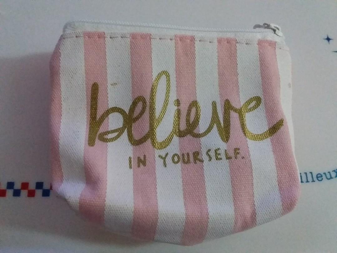 Pink Stripe coin pouch