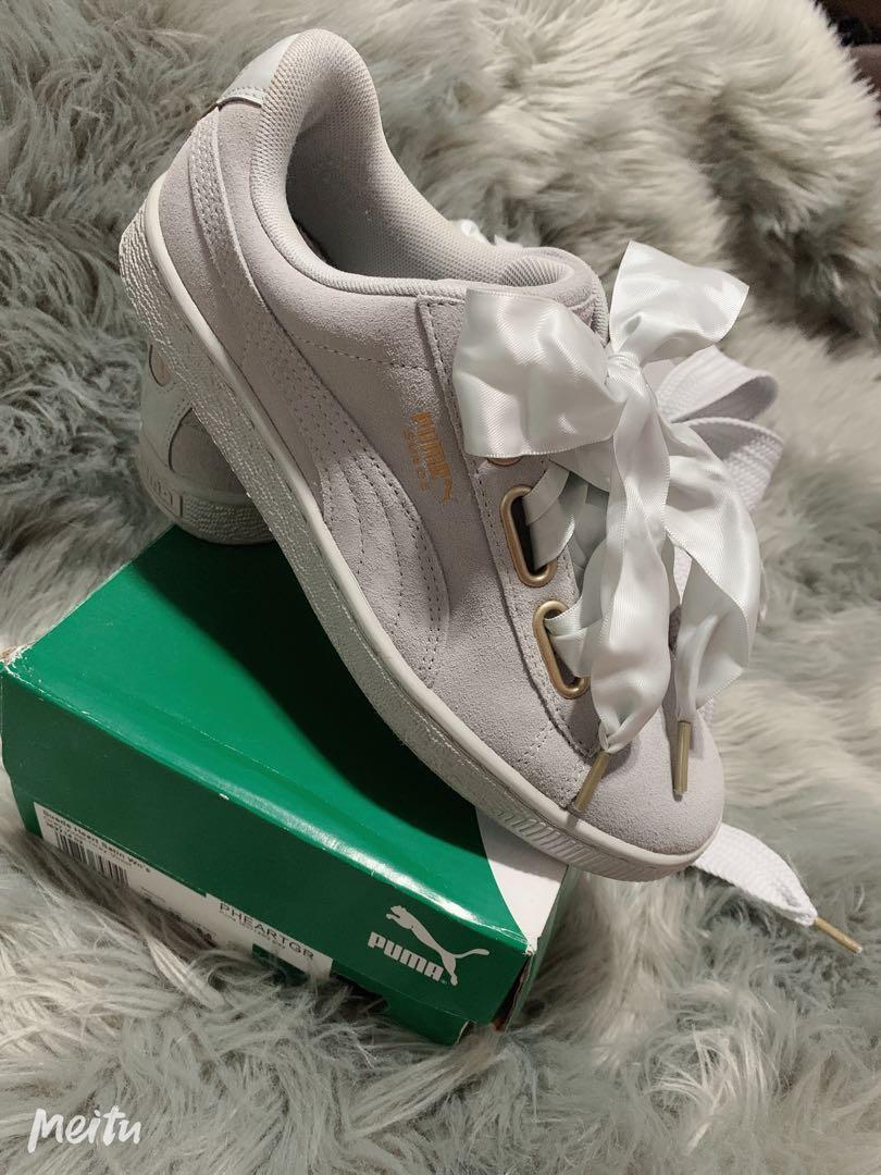 Puma Suede Heart Satin Grey/Gray Sneakers