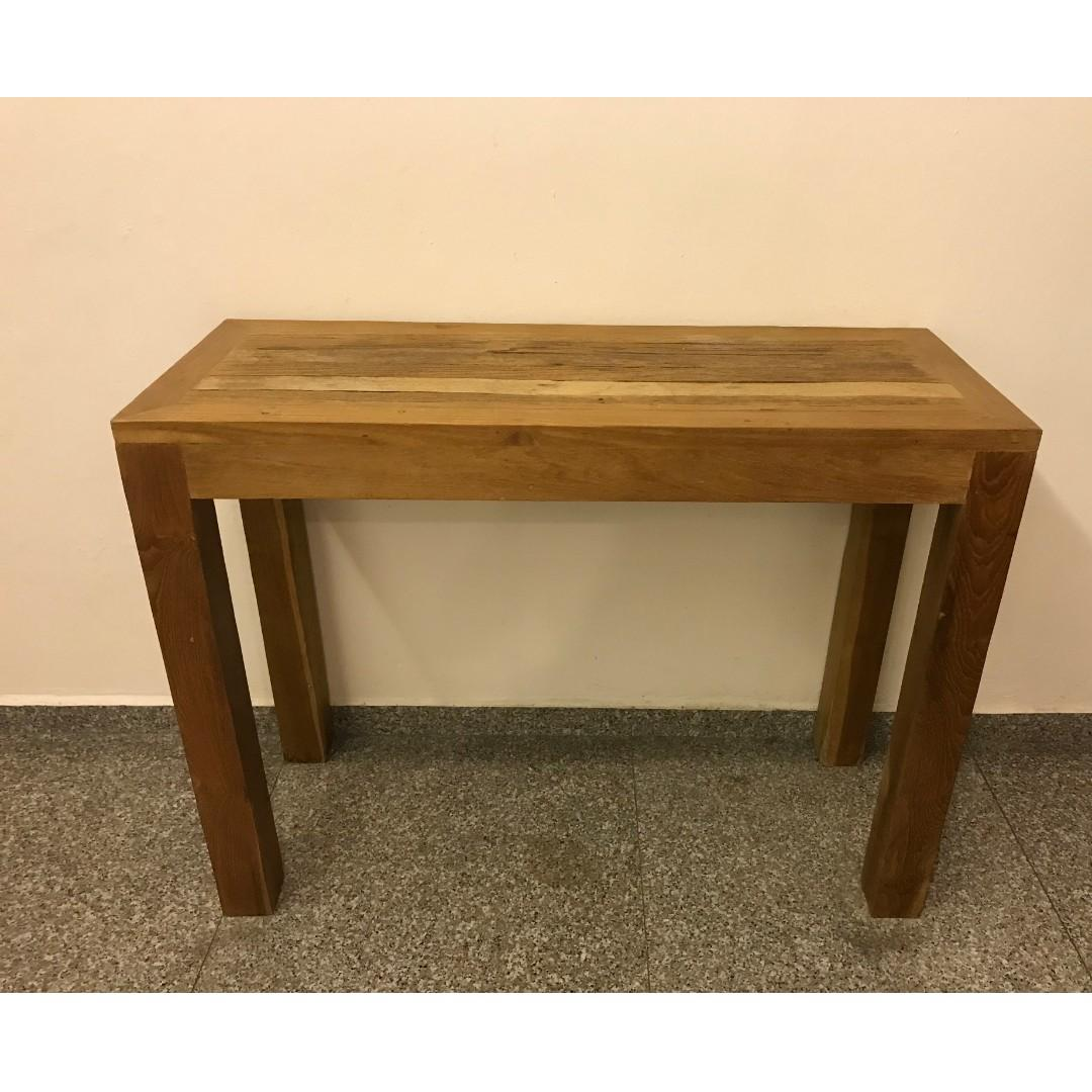 Reclaimed Teak Console Table Furniture Shelves Drawers On