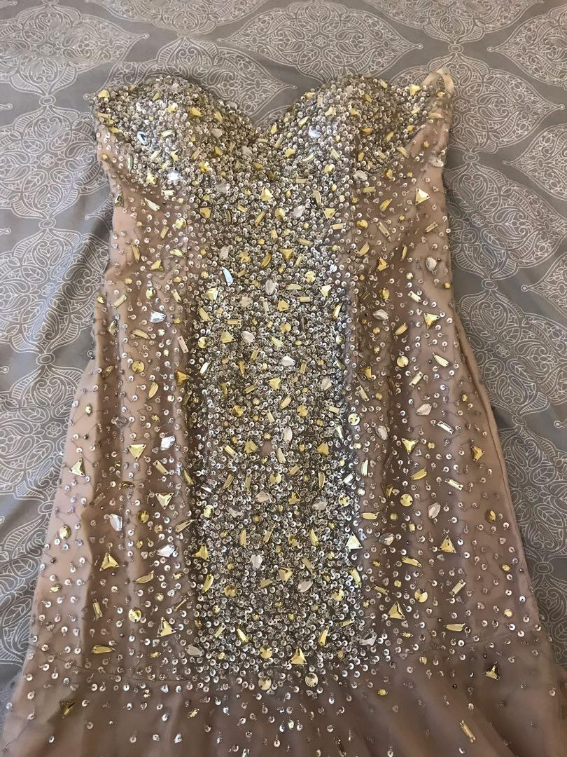 Sparkly gold and silver jewels with nude undertone Prom Dress