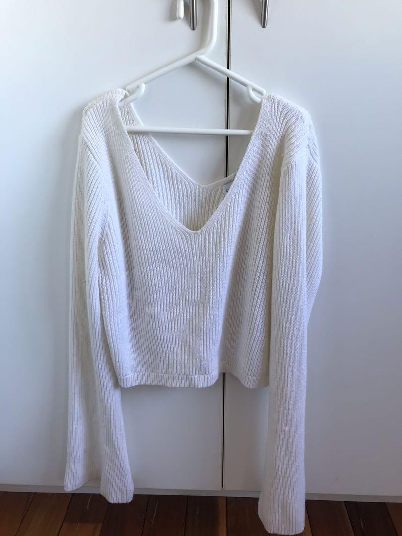 Sundays the label white crop bell sleeve jumper size small