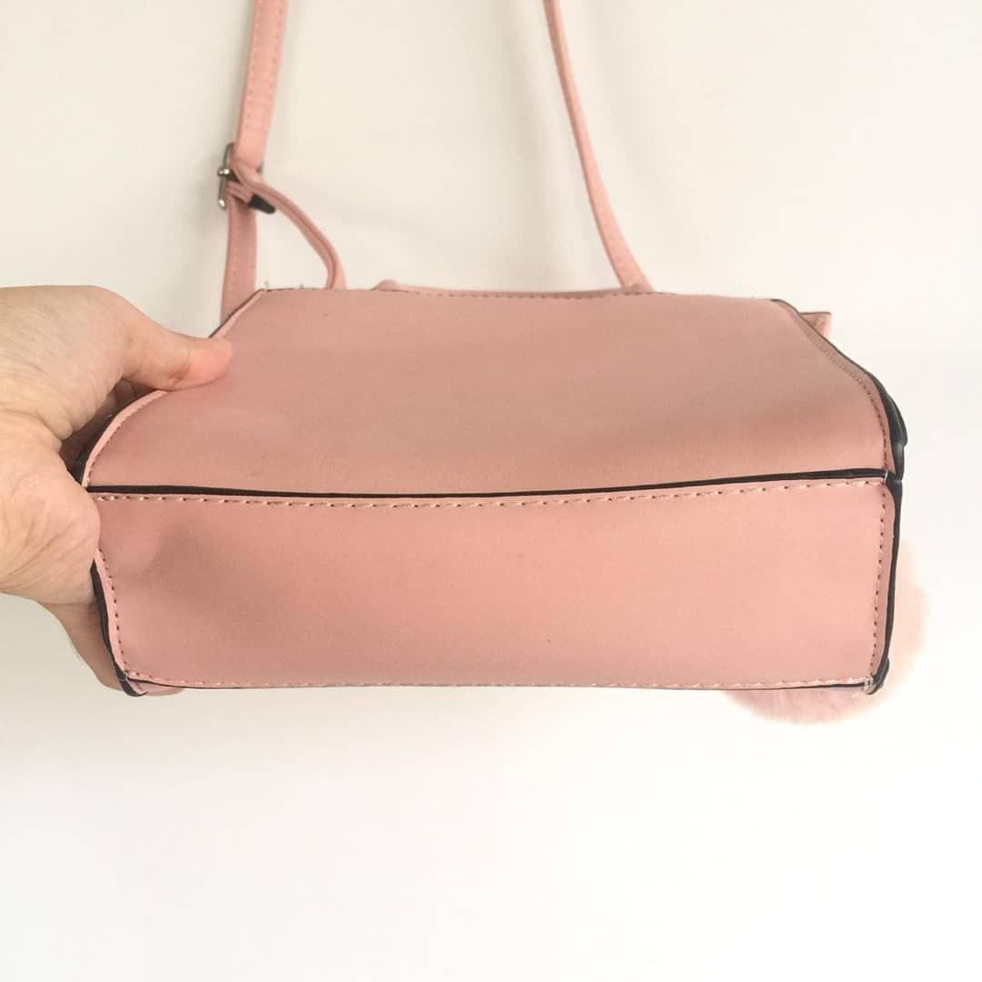 Tas Handbag Bershka Pompom Pink