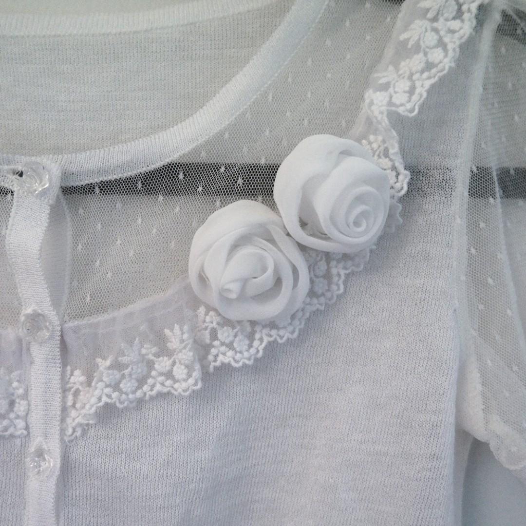 White Cardigan Sheer Rose Flower Cap Sleeve Crop Cropped Wedding Lace Jacket