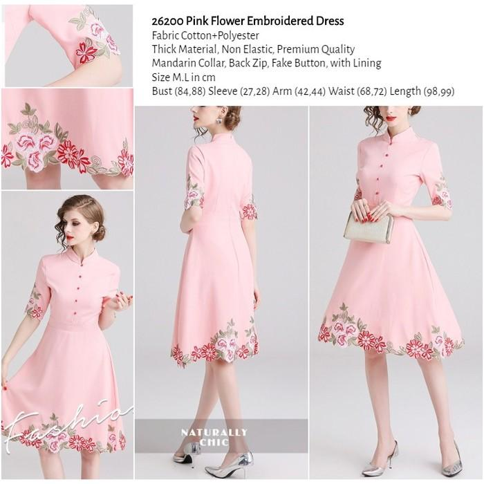 WST 26200 Pink Flower Embroidered Dress
