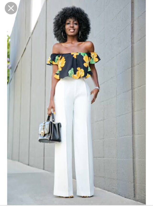 7c85611fa5a Zara Basic Black & Yellow Floral Off Shoulder Crop Top on Carousell