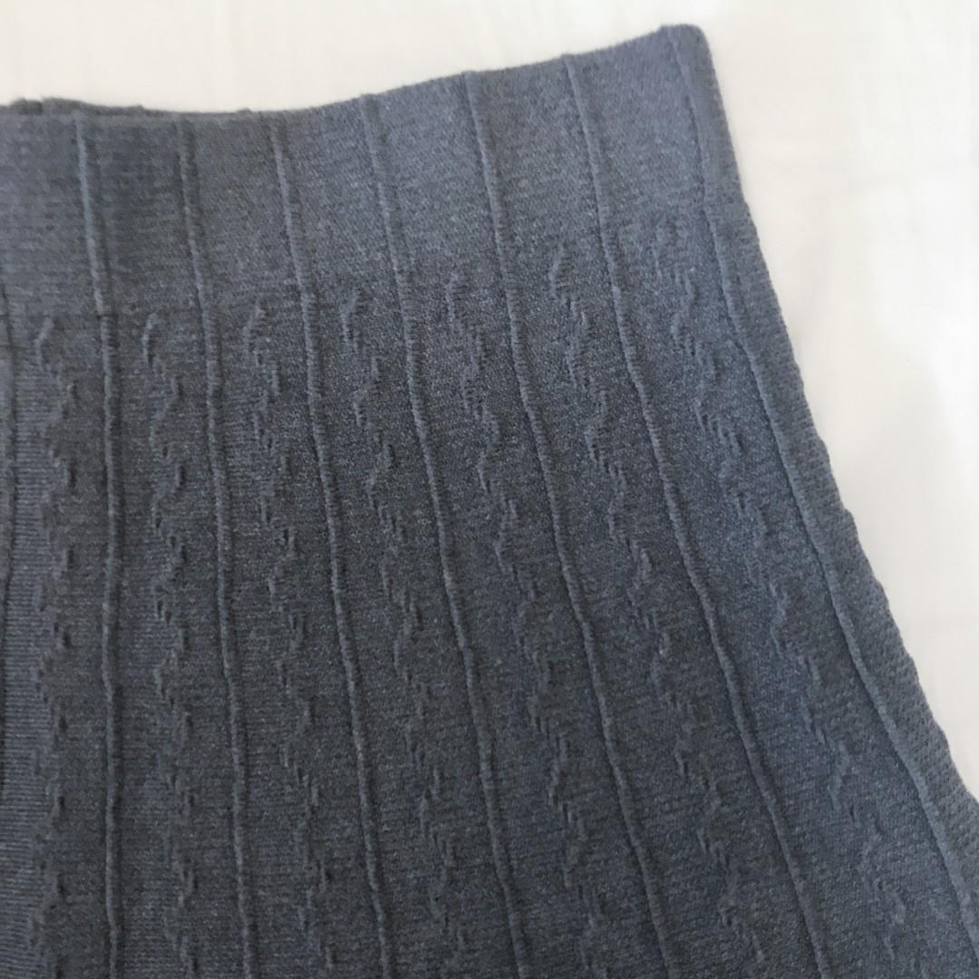 Zara Basic Grey Knit Mini Skirt Winter Gray Knitted Wool Flare A Line Stretch Knitted