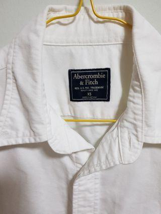 Abercrombie & Fitch (A&F) plain white Oxford shirt
