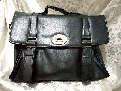 Big Black Faux Leather Black