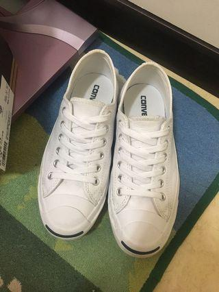 Converse jackpurcell 開口笑 荔枝皮 小白鞋 22.5