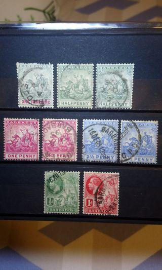 1892/1905 Barbados Colony stamps pack of 9 King Edward VII queen Victoria