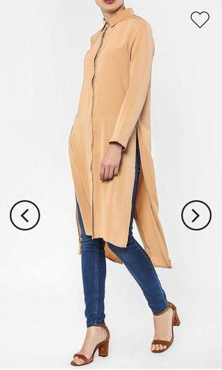 BNIB FV Basics Nina Button Down Long Slit Shirt UK 10