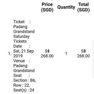 F1 Saturday Grandstand Ticket