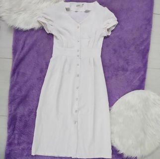Button Dress Midi White Putih