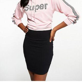 Black Ribbed Bodycon Pencil Skirt (S)