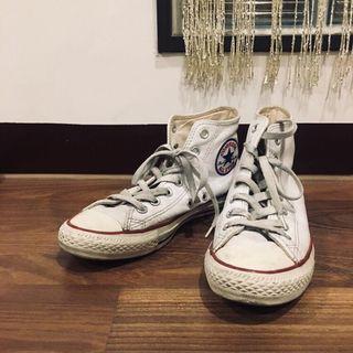 🚚 All star荔枝皮高筒 白 Converse