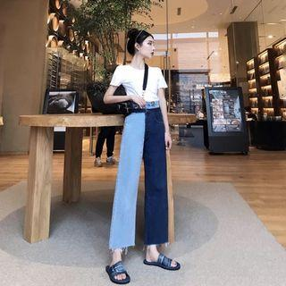duo colour blocking wide leg jeans