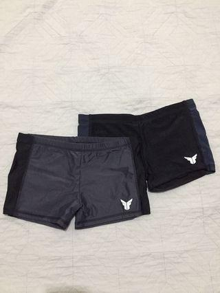 Size 12 Boys Swimming Trunks Set of 2 (gray and black, black and navy)