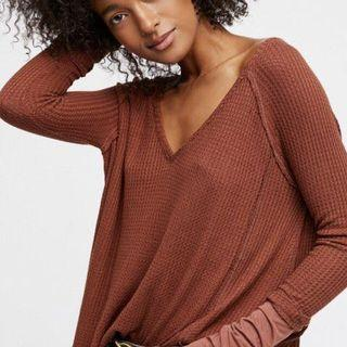 Free People Waffle Knit Oversized Thermal