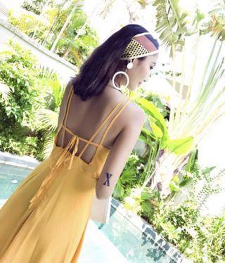 yellow self tie maxi dress