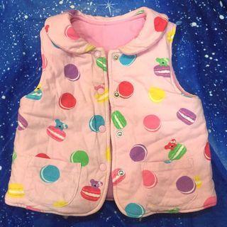 🚚 WHY AND 1/2 兒童 寶寶 女童 無袖外套 背心 雙面穿 滿印馬卡龍 純色 普普熊 排釦上衣 開衫馬甲